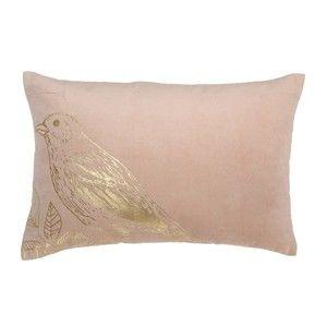 Růžový bavlněný polštář Bloomingville Birdie, 45x60cm