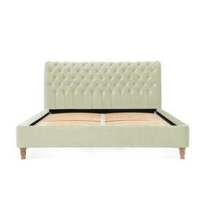 Jablkově zelená postel z bukového dřeva s černými nohami Vivonita Allon, 180 x 200 cm