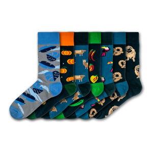 Sada 7 párů barevných ponožek Funky Steps Dark Mix, velikost 41 - 45