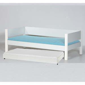 Bílá dětská postel s bezpečnostními postranními pelestmi a výsuvnou přistýlkou Manis-h Liv, 90x200cm