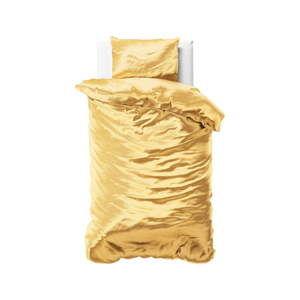 Žluté povlečení ze saténového mikroperkálu na jednolůžko Sleeptime, 140x220 cm