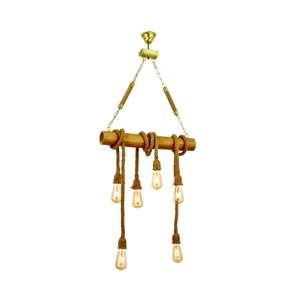 Závěsné svítidlo z habrového dřeva Bambu 6lı