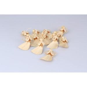 Sada 12 kusů slaměných závěsných ozdob ve tvaru anděla Dakls