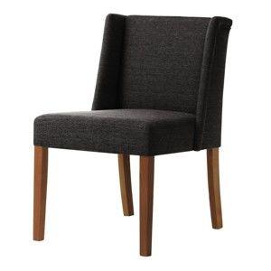 Antracitově šedá židle s tmavě hnědými nohami z bukového dřeva Ted Lapidus Maison Zeste