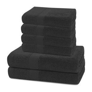 Set 2 černých osušek a 4 ručníků DecoKing Marina