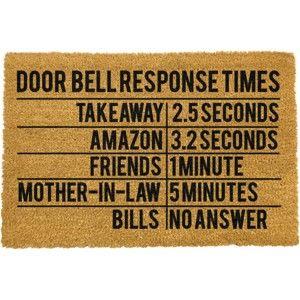 Rohožka z přírodního kokosového vlákna Artsy Doormats Door Bell Response Times,40x60cm
