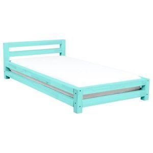 Tyrkysová jednolůžková postel z smrkového dřeva Benlemi Single,90x160cm