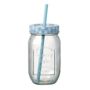 Modrá sklenice s brčkem Parlane Country Blue