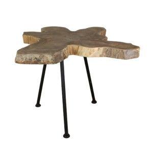 Odkládací stolek s deskou  z teakového dřeva HSM collection Tribe, ⌀40cm