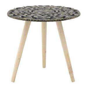 Tmavě šedý odkládací stolek zbřezového dřeva InArt Antique