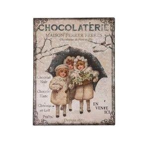 Kovová deska Antic Line Chocolaterie, 25x33cm