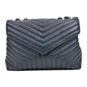 Modrá kožená taška přes rameno se 3 kapsami Luisa Vannini