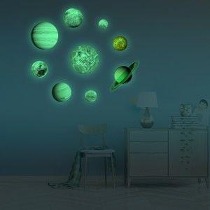 Sada 9 svítících samolepek Ambiance Solar System