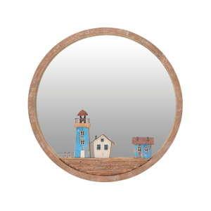 Nástěnné zrcadlo s rámem z březového dřeva InArt Glamour, ⌀ 39 cm