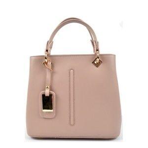Pudrově růžová kožená kabelka RobertaM Mismono