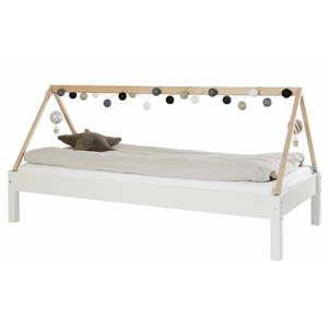 Bílá dětská postel s rámem pro stříšku z bukového dřeva Manis-h Ydun, 90x200cm