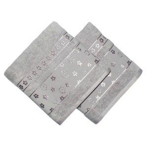 Sada 2 šedých ručníků z bavlny Blossom, 50x90cm