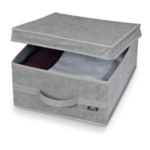 Šedý úložný box Domopak Stone Medium, 45x35cm