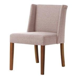 Pudrově růžová židle s tmavě hnědými nohami z bukového dřeva Ted Lapidus Maison Zeste