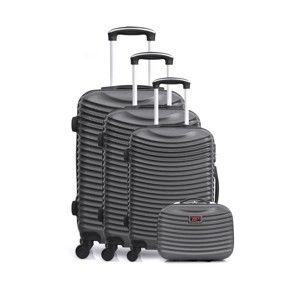 Sada 4 tmavě šedých cestovních kufrů na kolečkách Hero Etna-C