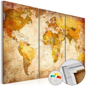 Vícedílná nástěnka s mapou světa Artgeist Antique Travel, 90x60cm