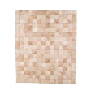 Béžový koberec z hovězí kůže Arctic Fur Patchwork Rug Sand, 140 x 170 cm
