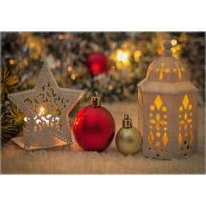 Koberec Vitaus Christmas Period Star And Lantern, 50 x 80 cm