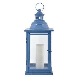 Modrá kovová lucerna Esschert Design Romantik, výška 48 cm