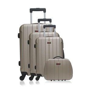 Sada 4 cestovních kufrů na kolečkách ve zlaté barvě Hero Fogo-C