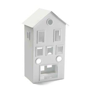 Bílý svícen Versa Metal House, výška 31 cm