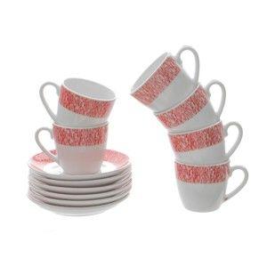 Sada 6 porcelánových hrnků na kávu s podšálky Kasanova Geko Red