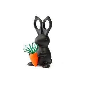 Černý stojánek s nůžkami Qualy&CO Desk Bunny Scissors