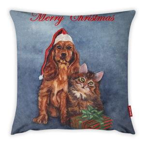 Povlak na polštář Vitaus Christmas Period Cat And Dog, 43 x 43 cm