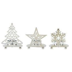 Sada 3 svícnů ve stříbrné barvě KJ Collection Happy Snow