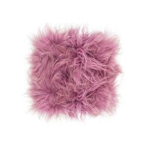 Růžový kožešinový podsedák s dlouhým chlupem Arctic Fur Eglé, 37x37cm