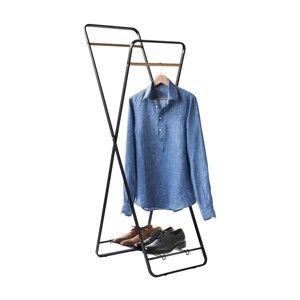 Stojan na oblečení s poličkou Compactor Noir Shape