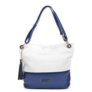 Modro-bílá kožená kabelka Anna Luchini Tanya