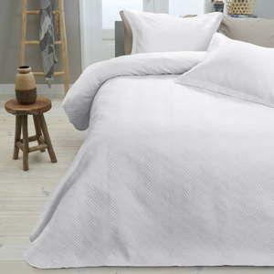 Bílý přehoz přes postel se dvěma povlaky na polštář Dreamhouse Jack,260x250cm