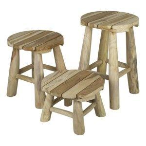 Sada 3 stoliček z teakového dřeva HSM collection