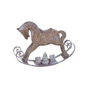 Hnědá dekorace ze dřeva ve tvaru houpacího koně Ego Dekor Horse,výška12cm