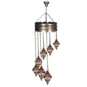 Skleněná ručně vyrobená závěsná lampa Dan, ⌀15 cm