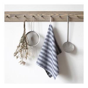 Světle šedá lněná utěrka Linen Tales Stripe, 65x45cm