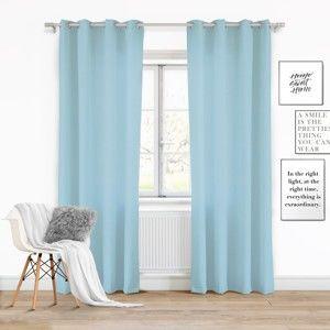 Světle modrý závěs Slowdeco Vivat, 140 x 250 cm