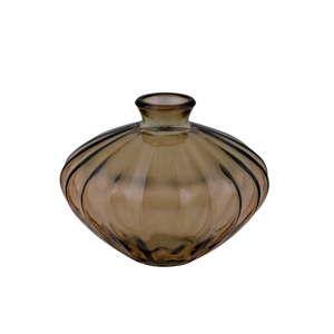Kouřově hnědá váza z recyklovaného skla Ego Dekor Etnico, výška 14 cm