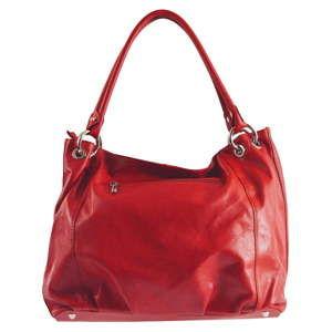 Červená kožená kabelka Chicca Borse Toto