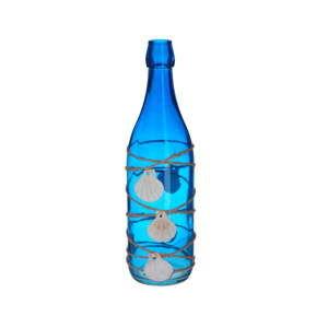 Modrá skleněná dekorativní láhev s mušličkami InArt Sea