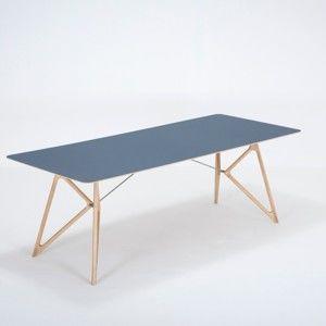 Jídelní stůl z masivního dubového dřeva s tmavě modrou deskou Gazzda Tink, 220x90cm
