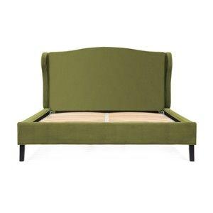 Olivově zelená postel z bukového dřeva s černými nohami Vivonita Windsor, 140 x 200 cm