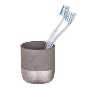 Šedý betonový kelímek na zubní kartáčky Wenko Mauve