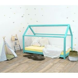 Tyrkysová dětská postel bez bočnic ze smrkového dřeva Benlemi Tery, 80 x 190 cm